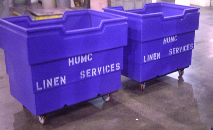 Stenciled Laundry Cart, Stenciled Recycling Carts, Stenciled Linen Carts, Stenciled Linen Trucks